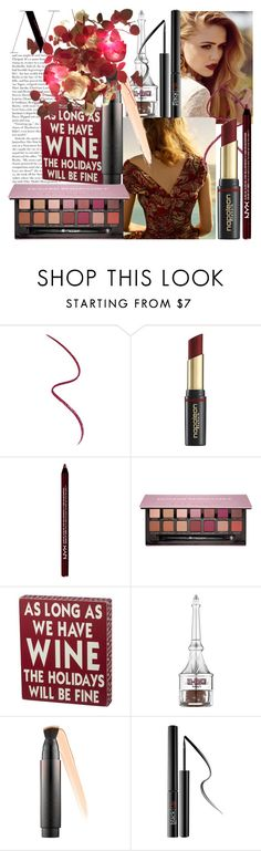 """""""Red Wine, Golden Hour"""" by golda-grais ❤ liked on Polyvore featuring beauty, Gucci, David Jones, NYX, Anastasia Beverly Hills, Benefit, Surratt, Sephora Collection, gold and REDLIP"""