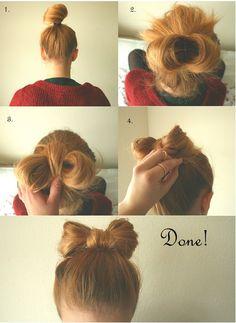 Bow Hair Bun Tutorial.