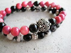 Stunning pink beaded stretch bracelet set by Rock & Hardware Jewelry