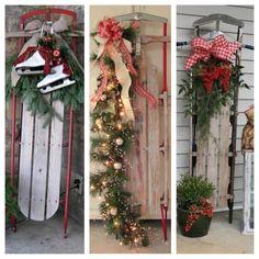 Holiday sleigh front porch decor