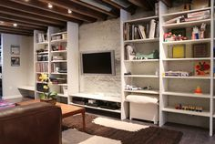polished concrete floor, exposed wood beams,track lighting, brooklyn townhouse, #RemontNYC