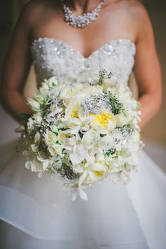 Strictly Weddings is swooning over two forever loves - jewels and bridal bouquets - that together make for a stunning jeweled bridal bouquet.
