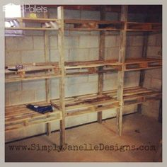 Pallet storage shelves diy in our basement simply designs projects wood pallets Woodworking Ideas Pallets, Easy Woodworking Projects, Diy Pallet Projects, Pallet Ideas, Wood Projects, Woodworking Equipment, Woodworking Classes, Woodworking Bench, Woodworking Quotes