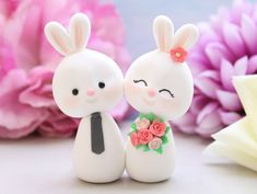 Custom Bunny wedding cake toppers  bride and groom figurine