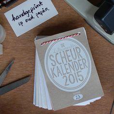 de zelfgemaakte scheurkalender 2015 // handgeprint