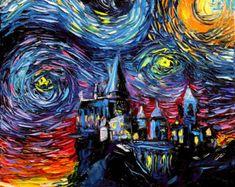Hogwarts noche estrellada impresión impresión de por LetiPrint