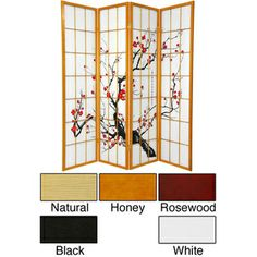 Wood and Rice Paper Flower Blossom 3-panel Room Divider (China) | Overstock.com Shopping - The Best Deals on Decorative Screens