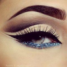 pinterest: @ nandeezy †  Blue Glitter Eyeliner + Cut Crease