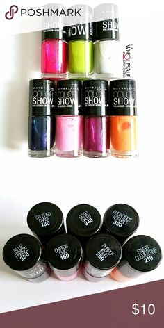 7x Maybelline Colorshow Nail Polish Set of 7 Maybelline Color Show Nail Polish - All Brand New   * Crushed Candy * Go Go Green * Audacious Asphalt  * Blue Freeze  * Chiffon Chic * Purple Icon * Sweet Clementine Maybelline Makeup