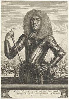 Christiaan Hagen | Portret van Heinrich Johann, graaf van Dunnewald, Christiaan Hagen, c. 1635 - 1695 | Portret van Heinrich Johann, graaf van Dunnewald, gekleed in een harnas met in zijn rechterhand een commandostaf. Op de achtergrond is een ruiterslag afgebeeld. Onder zijn portret een plint, waarop in een handschrift in pen zijn naam en titel in twee regels in een cartouche.