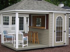 Hip Roof Bar Shed---this woukd be awesome poolside or lakeside!