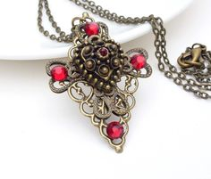 Gothic necklace, red cross necklace, dark red gothic jewelry $25