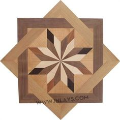 In stock hardwood floor medallion made of Walnut, Wenge, Maple, Oak, Sapele woods. Barn Quilt Designs, Barn Quilt Patterns, Wooden Wall Art, Wood Wall, Wood Projects, Woodworking Projects, Wooden Pattern, Elegant Home Decor, Barn Quilts