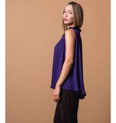 Μπλούζα Αμάνικη Ζορζέτα με Γιακά - Βιολετί Purple, Black, Style, Fashion, Swag, Moda, Black People, Fashion Styles, Purple Stuff