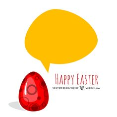 Happy Easter Egg With Speech Bubble Free Vector Download - https://vecree.com/4478377/happy-easter-egg-with-speech-bubble-free-vector-download/