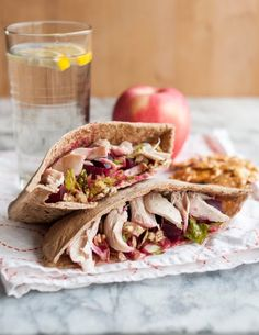 Quick and easy lunch recipe: Pita Pockets with Crunchy Romaine, Roasted Beets, Chicken & Manchego Cheese. Using rotisserie chicken will make this so fast!