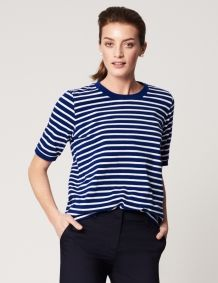 Short Sleeve Striped Top Winser Blue and White