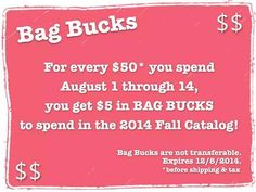 You heard of Kohl's Cash, right? Well I'm offering Bag Bucks to be used on items from the new catalog coming out in September, so if you are interested in shopping now for retiring items or looking for our monthly specials check out my group page for details. Use the Mystery Hostess link on my website and you could win all the Hostess Exclusives too! https://www.facebook.com/groups/TracysBagLadies/ #BagBucks #ThirtyOne #LimitedTimeOnly