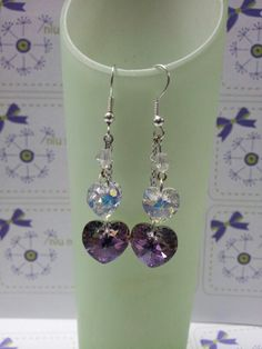 Mother day gift with swarovski heart shape earring