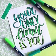 Brush Lettering with Tombow Dual Brush Pens Brush Lettering Quotes, Hand Lettering Fonts, Creative Lettering, Lettering Design, Calligraphy Doodles, Calligraphy Quotes, Calligraphy Letters, Typography Letters, Handwritten Quotes