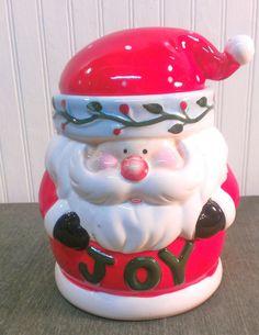 Vintage Christmas  Santa Ceramic Cookie JarJoy by AtlantaHomeStore, $10.00