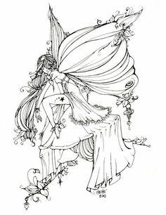 Leaf Fairy Line Art by UGLITRY
