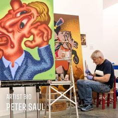 Born in San Francisco in 1934, Peter Saul studied at California School of Fine Art from 1950-1952, and in 1956 he graduated from Washington University of Fine Arts in St. Louis. From 1956 to 1964, Saul lived in Europe. The pieces he created in there were unlike anything else being made at the time.  Check the link to learn more...  #petersaul #saul #artistbio #popart #americanart #abstractart #cartoons #surrealism #badpainting #garytatintsiangallery
