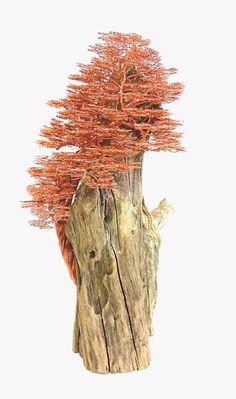Copper Wire Sculpture Driftwood Sculpture Wire door BonsaiWireTree