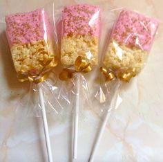 Pink with Gold sprinkles rice crispy treats (rice krispie treats chocolate baby shower) Rice Crispy Treats, Krispie Treats, Rice Krispies, Baby Shower Treats, Baby Shower Parties, Party Treats, Party Desserts, Gold Baby Showers, Baby Shower Princess