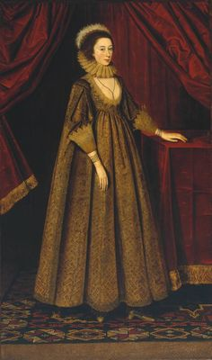 """""""Gertrude Sadler, Lady Aston"""", ca. 1620-23, by an unknown British artist. Gertrude Sadler was the wife of Sir Walter Aston, Lord Forfar, who was appointed as James I's ambassador to Spain in 1620. It may be that the woman shown here is another Lady Aston: Magdalena, wife of Sir Thomas Aston of Aston Hall, in Cheshire."""