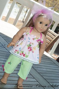 """Ready to ship American Girl clothes 18"""" doll 3 pieces outfit: Top pants headband - Spring is here!"""