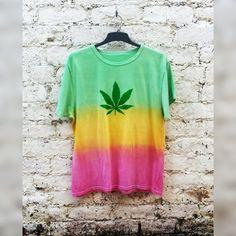 cfd8f426429 Pot Leaf Shirt in Rasta Tie Dye Tshirt in Unisex ALL by AbiDashery Sweaters  For Women