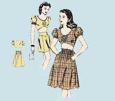 1940s Midriff Top High Waist Shorts Skirt by allthepreciousthings