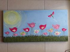 Made-By-Me....Julie Ryder: Two New Mixed Media Canvas Paintings for your girls room!