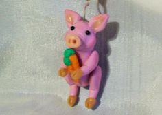 LAVENDER PIG WITH CARROTS ORNAMENT polymer clay art doll ooak decoration pendant #any