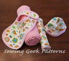 This digital sewing pattern is an adorable gift set that includes a bib, hat (size 0-3 months), receiving blanket and burp cloth. It's full of the basic essentials every new mom needs for a handmade gift you know will get used! Use it over and over again to stock up on the essentials! Also, included is a bonus tutorial on making your own bias tape.