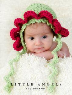 Baby Flower Bonnet Crochet Pattern by SunsetCrochet