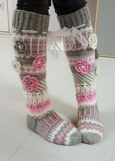 Long wool women ladies socks, Anelmaiset socks, warm winter knitted over the knee socks, striped, colourful knee length / high socks prefer without extra roses. Thigh High Boots Heels, Thigh High Socks, Knee Socks, Heel Boots, Thigh Highs, Knitting Projects, Knitting Patterns, Crochet Patterns, Crochet Slippers