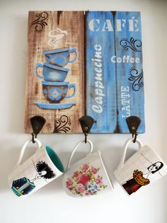 Related image - Diy and Crafts Arte Pallet, Pallet Art, Diy Pallet Projects, Wood Projects, Coffee Bar Home, Coffee Corner, Crafts To Sell, Diy And Crafts, Cafe Art
