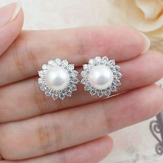 Luxury Elegant Pearl and Cubic Zirconia Halo Style Ear Studs - Earrings Nation