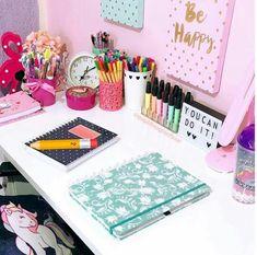 Girls Bedroom, Bedroom Decor, Cute Desk, Study Desk, School Organization, Dream Rooms, My Room, Room Inspiration, Office Decor