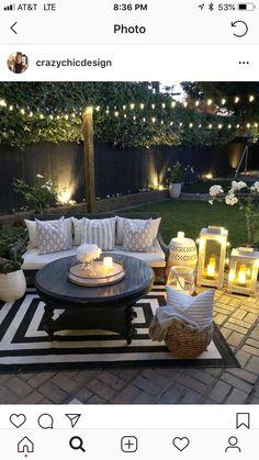 "Love this backyard Liebe diesen Hinterhof Source by cynthianesteby"", ""pinner"": {""username"": ""first_name"": ""Garten dekoration ""domain_url"": ""gartendeko.ml"", ""is_default_image"": false, ""image_medium_url"":. Outdoor Rooms, Outdoor Decor, Outdoor Living Spaces, Outdoor Candles, Backyard Patio Designs, Backyard Seating, Cozy Backyard, Small Backyard Design, Backyard Porch Ideas"