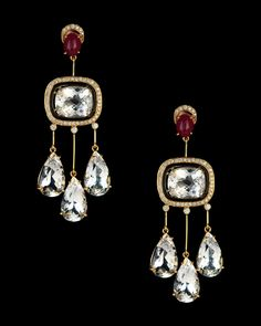 Hanut Singh - WHITE SAPPHIRE, RUBY AND DIAMOND ARCHITECTURAL EARRINGS