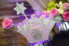 Faire-Part - Invitation Couronne Princesse Rose et dorée Anniversaire Fille