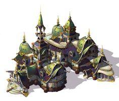 Elf village hall, Whihoon Lee (whinbek) on ArtStation at https://www.artstation.com/artwork/elf-village-hall
