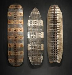 George Peterson recycled skateboard sculpture. Reminds me of African shields and masks