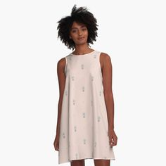 """A-Line Dress """"Little Flowers"""" by Elena Lourie.  Worldwide shipping available at Redbubble.com. #dress #flowers #apparel #clothes #summer #summerdress #paledogwood #delicate #style  #cute #printshop #shop #forsale #elenalourie #fashion #pattern #textile #redbubble"""