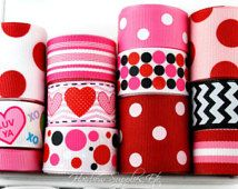 Conversation Hearts 12 yard Valentine Ribbon Lot - You Receive 1 yard each - Hairbow Supplies, Etc.
