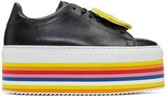 Joshua Sanders - Black Smile Rainbow Platform Sneakers