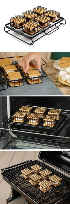 Grill/Oven S'More Maker // no mess or fuss - a cage keeps it all the ingredients in place Design Kitchens) Cool Kitchen Gadgets, Kitchen Items, Kitchen Utensils, Cool Kitchens, Kitchen Appliances, Kitchen Tools, Wolf Appliances, Retro Appliances, Black Appliances